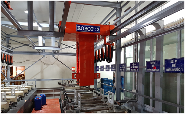 Automatic barrel plating line
