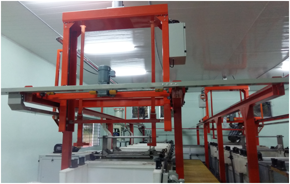 Semi-automatic galvanizing line